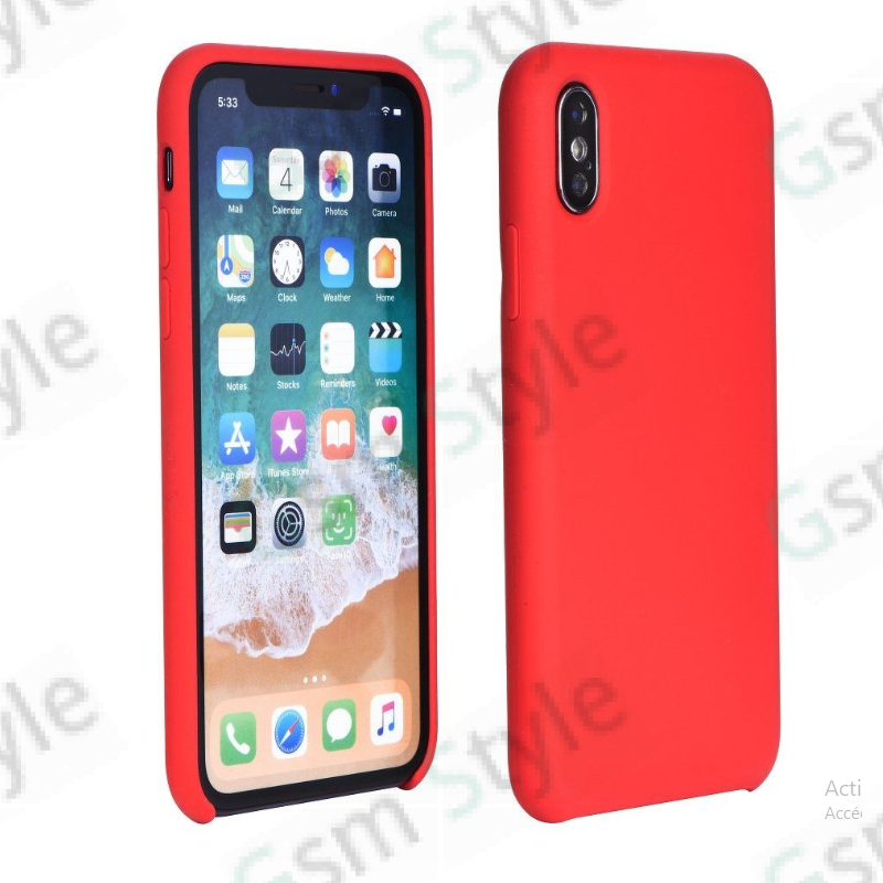 Coque silicone rouge iPhone X Forcell